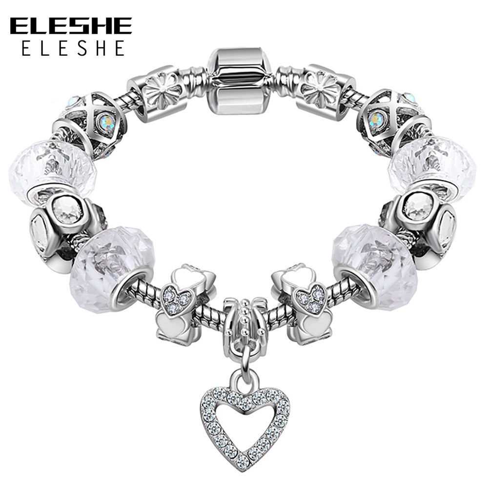 ELESHE Women Bracelet 925 Antique Silver Crystal Charm Bracelet&Bangle With Murano Glass Bead Bracelet for Women Fashion Jewelry