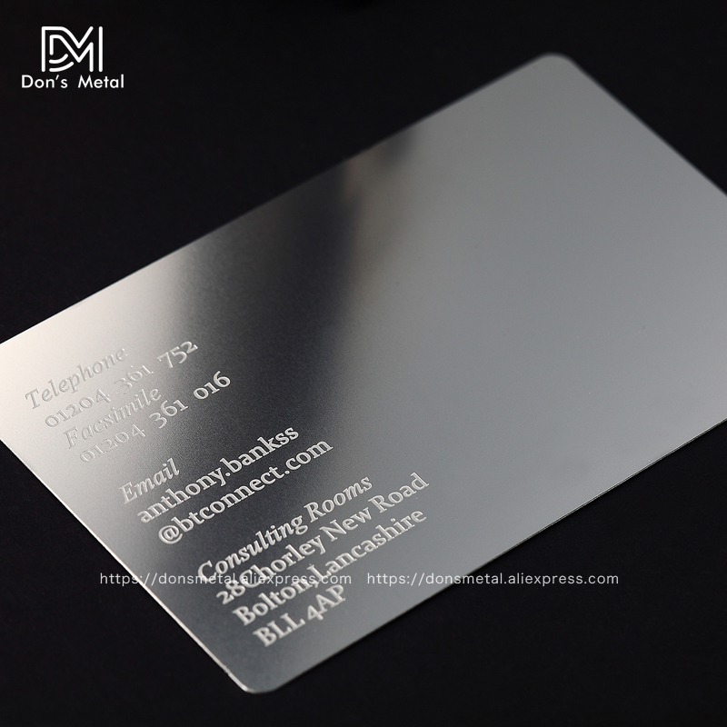 Personalizing concave convex cutout quality stainless steel business metal card Metal business card metal membership card desig