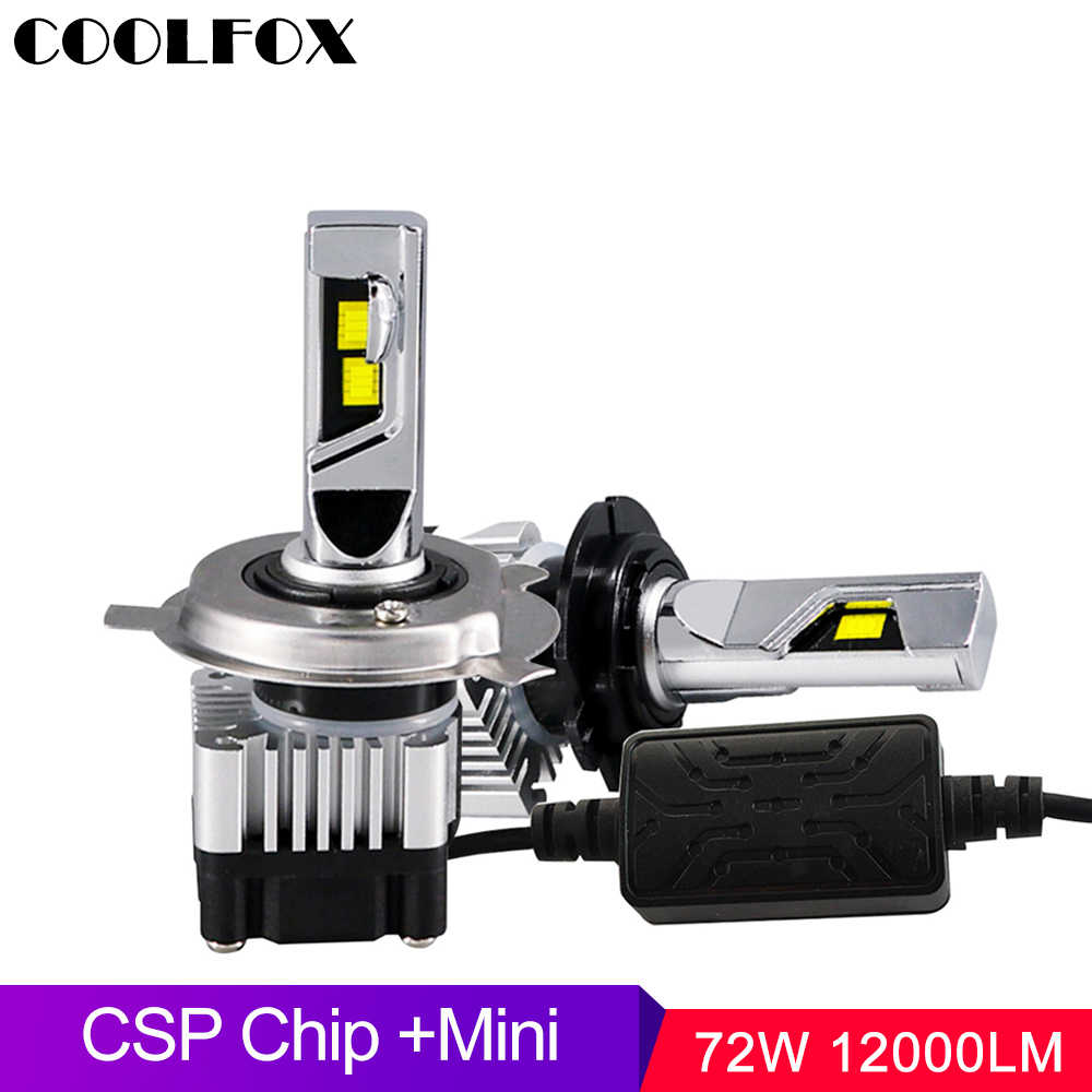 COOLFOX 2x Mini Car Light H4 Led Bulb H1 H7 H8 H11 9006 9005 HB3 HB4 H3 LED Headlight Lamp Auto Motorcycle Kit 12V 6000K 12000Lm