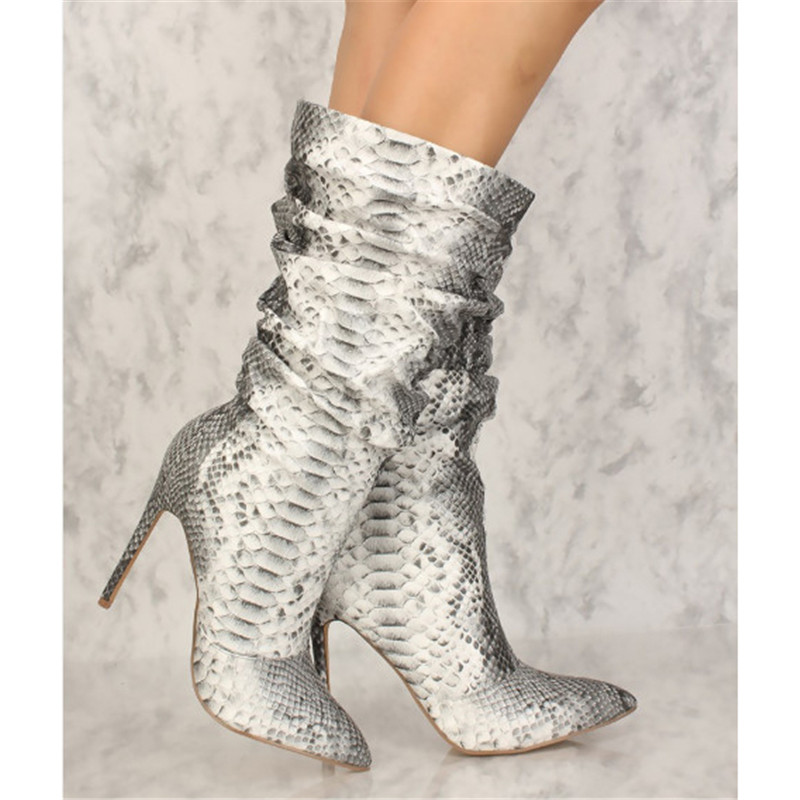 Fashion New 2018 Botas Mujer Snakeskin Mid Calf Women Winter Boots Leather Pleated Python Snake Print Slip On Casual Boots WomenFashion New 2018 Botas Mujer Snakeskin Mid Calf Women Winter Boots Leather Pleated Python Snake Print Slip On Casual Boots Women