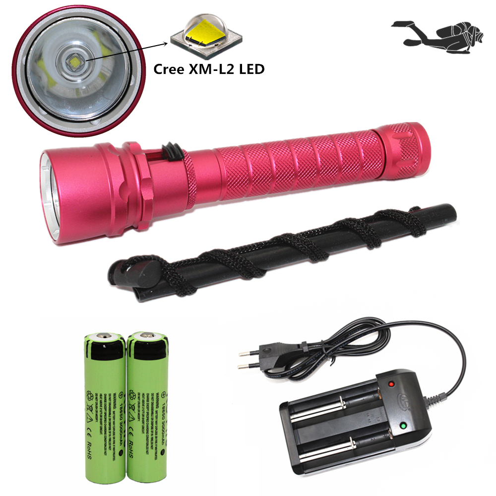 Underwater lighting scuba diving flashlight dive light Cree XM-L2 LED torch Waterproof lanterna + 18650 battery + charger 100m underwater diving flashlight led scuba flashlights light torch diver cree xm l2 use 18650 or 26650 rechargeable batteries