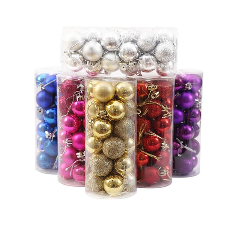 12pcs Christmas Baubles Glitter Chic Round Xmas Balls Decor Ornament New Year