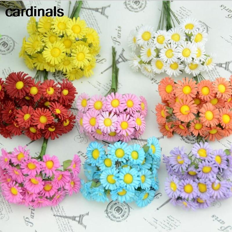 10pcs/lot Mini Silk Daisy Artificial Flowers Bouquet Multicolor Scrapbooking Flower flowers DIY Ball Stamen Wedding Decoration