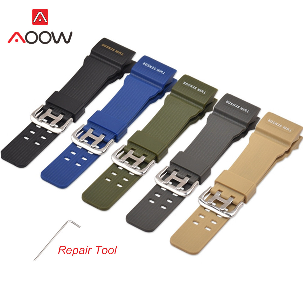 Silicone Watchband For Casio G-Shock GG-1000 / GWG-100 / GSG-100 Men Sport Waterproof Resin Bracelet Watch Band Strap With Tool