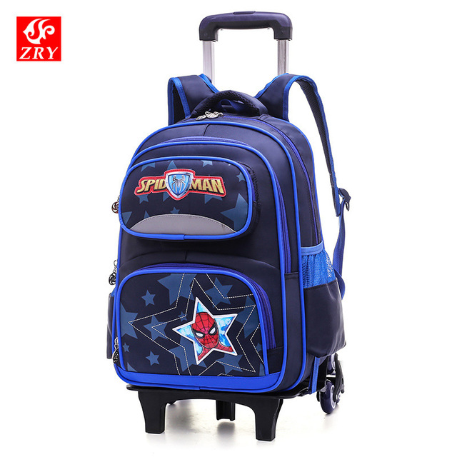 Cartoon Children 2/6 Wheeled bags Alleviate Burden Backpacks Drag package waterproof Removable travel Trolley School Bag Luggage