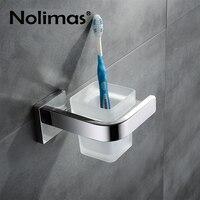 SUS304 Stainless Steel Bathroom Single Toothbrush Glass Cups Holder Mirror Polished Toorhbrush Cup Holders Bathroom Accessories