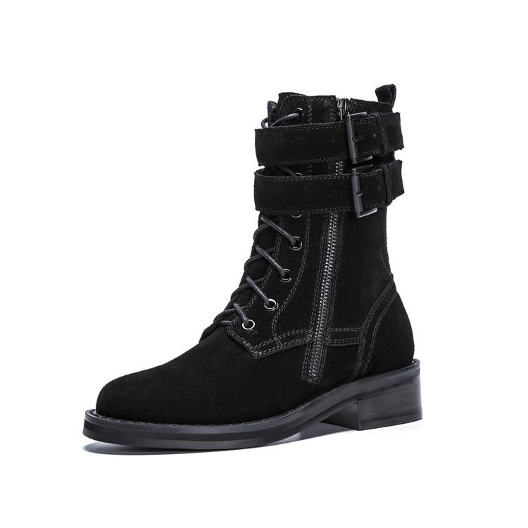 MLJUESE 2019 ผู้หญิงข้อเท้ารองเท้าหนังวัวสายคล้องคอสีดำฤดูหนาว warm fur รองเท้าส้นรองเท้าผู้หญิงขนาด 34 40-ใน รองเท้าบูทหุ้มข้อ จาก รองเท้า บน   3