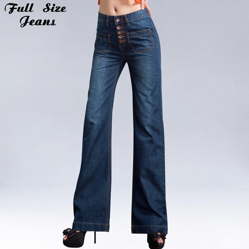 a777f8d9ff Otoño alta waisted Bell Pantalones más tamaño pierna ancha Vaqueros 4xl 34  3xl solo breasted azul oscuro mujeres Corea sexy Vaqueros