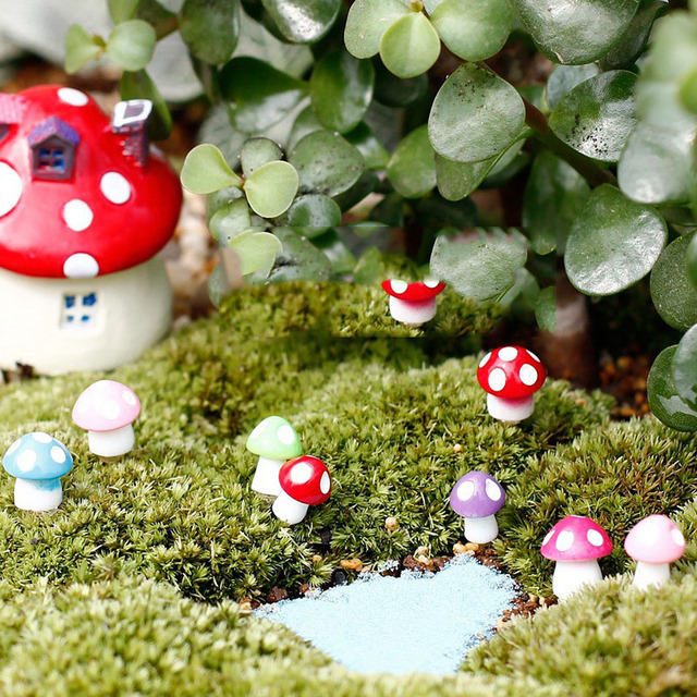 Beau 10Pcs/lot Fairy Garden Miniatures Mini Mushroom Garden Decoration Resin  Mushroom Craft Miniature Fairy Figurines Manualidades