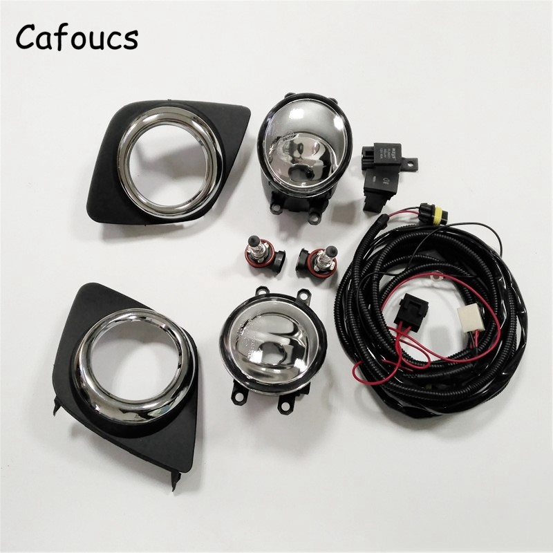 Cafoucs Car Fog Light Assembly For Toyota Rav4 2009-2012 Fog Lamp With Decoration Cover Switch Harness Relay 12v 55w car fog light assembly for ford focus hatchback 2009 2010 2011 front fog light lamp with harness relay fog light