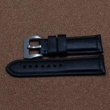 22mm 24mm 26mm Correa de pulseras de Alta Calidad Italiana de Cuero Suave Genuino Venda de Reloj de la Correa de Acero de Plata Depolyment cierre