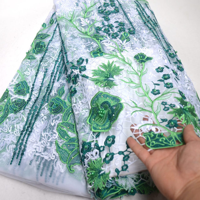 Green White french lace African tulle fabric with guipure cord lace fabric edges lots of beads stones high quality 5 yards RG650