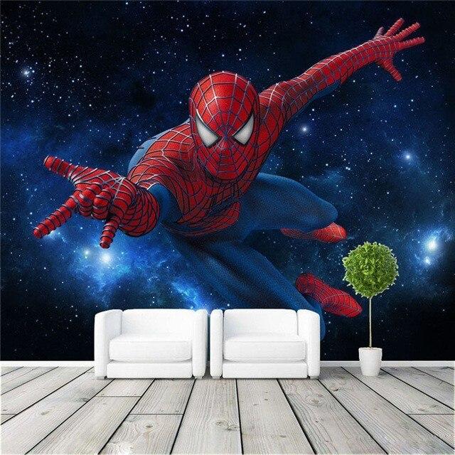 Eco Friendly 3D Huge Mural Stars Sky Super Spiderman