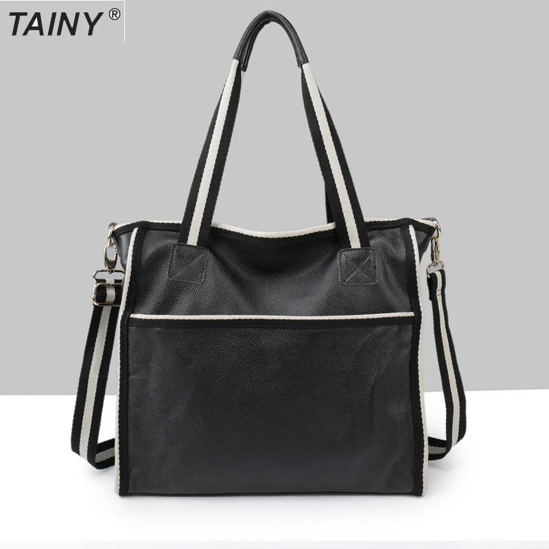 TAINY 2017 Brand New Tainy Casual Tote Genuine Leather Cow Leather Women Bags Shoulder & Messenger Bags Black цены