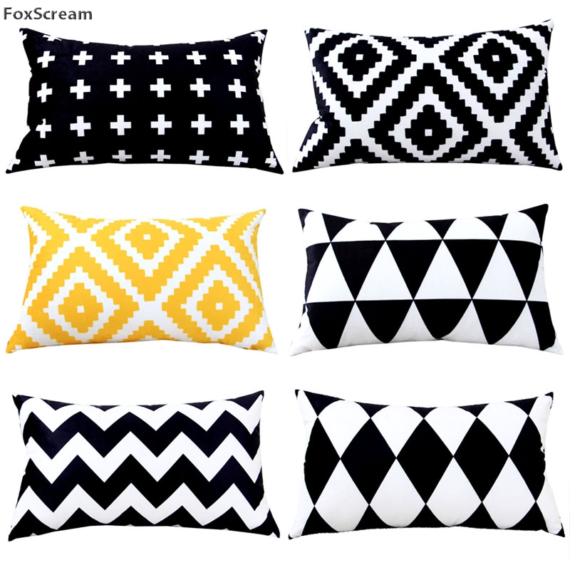 rectangle Decorative Cushions Cover Home Textile throw pillow case black and white decoratvie cushion cover geometric Pillowcase