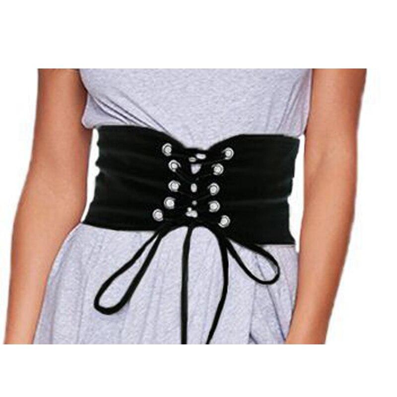New Fashion UK Women Ladies Wide Buckle Elastic Stretch Corset Waistband Waist Lace-up Drawstring Solid Belts Cummerbunds