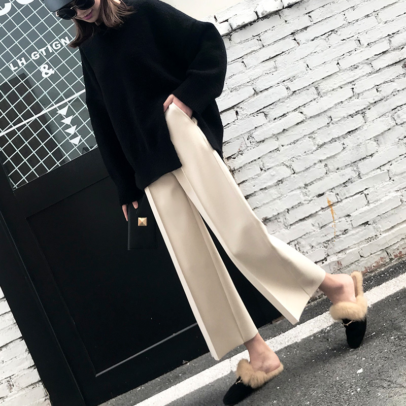 2019 Autumn And Winter Korean Version Of Woolen Wide Leg Pants Female Nine Pants High Waist Straight Woolen Pants Casual Pants