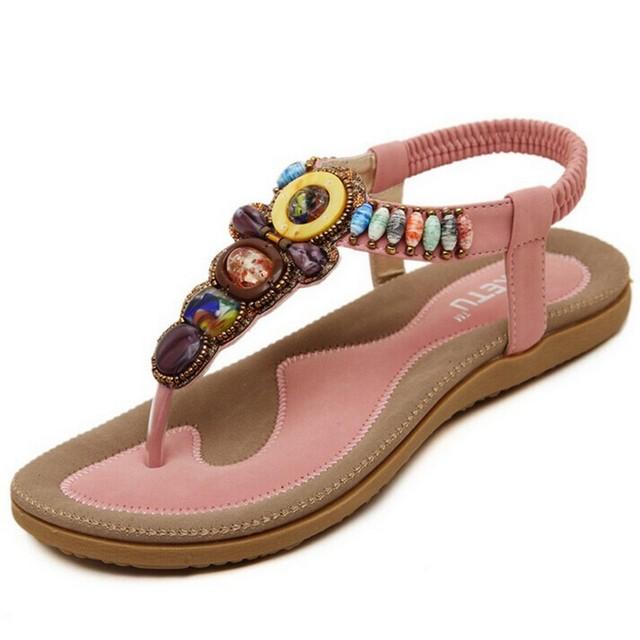 Tamanho 36-42 2016 Mulheres Bohemian Sandálias de Pedras Preciosas Frisado Chinelos Sandálias Da Praia do Verão Mulheres Flip Flops Sandálias Flat Senhoras sapatos