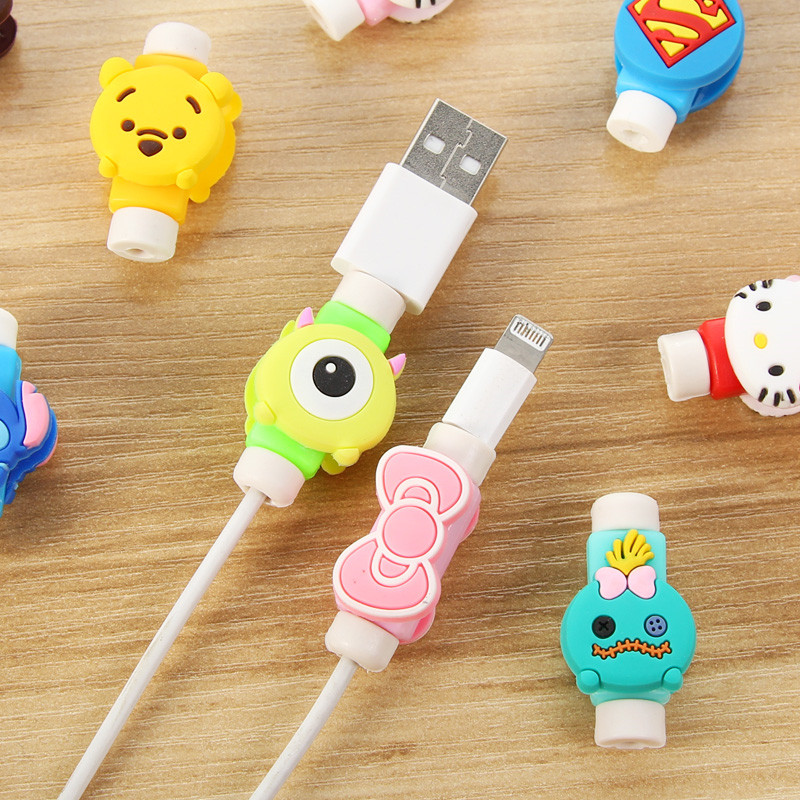 2 pcs Cartoon Mobile phone Data Cable protective sleeve/To protect the USB cable for all Phones earphone USB cable protector