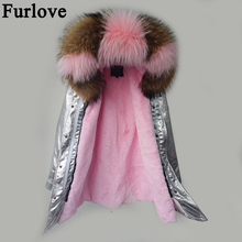 Parka women winter 2017 jacket coat women real fur coat parkas natural raccoon fur collar hooded warm soft faux fur liner coats