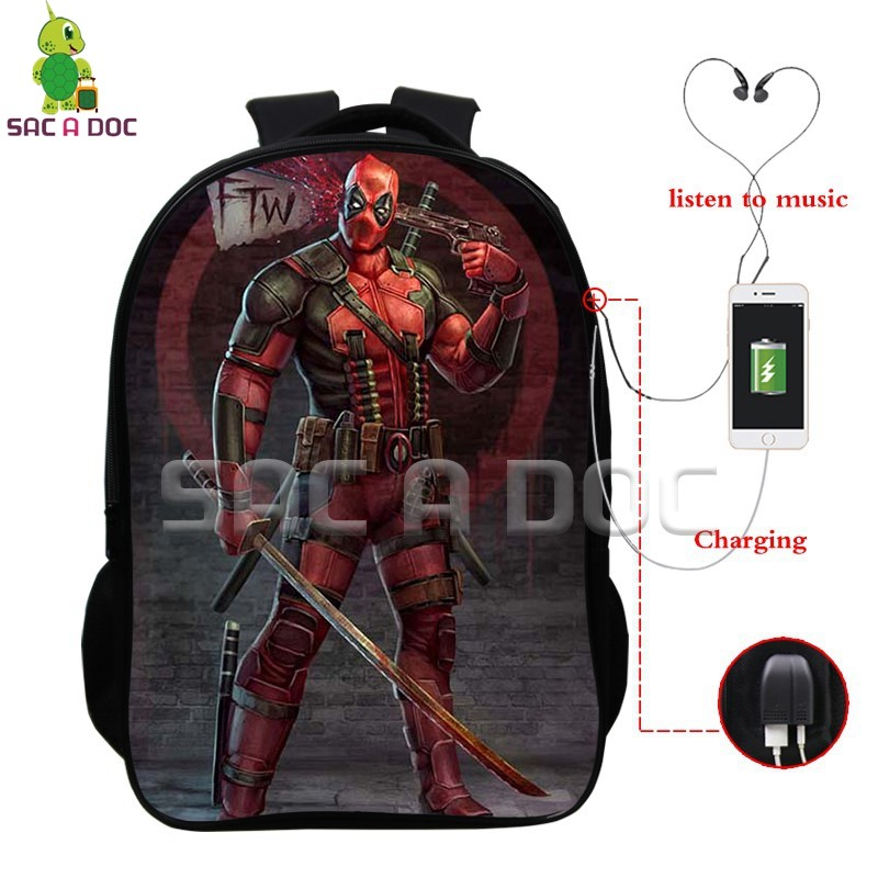 3c06e0c9e629 Deadpool Super Hero Multifunction Backpack School Bags for Teens Men Women USB  Charging Headphone Jack Laptop Backpack-in Backpacks from Luggage   Bags on  ...