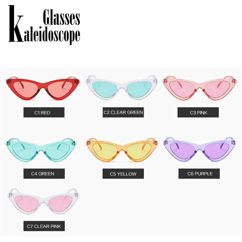 5514961a04 ... Kaleidoscope Glasses Small Cateye Sunglasses Women Vintage Sexy Cat Eye  Frame Tint Red Shiny Lens Sun ...