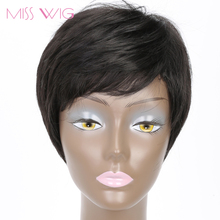 MISS WIG 8Inchs Wigs for Black Women Synthetic Wigs Black Color High Temperature Fiber