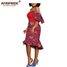 2019 african summer print casual women dress slash neck mid-calf length batik cotton knee-length for lady dashiki A1925019