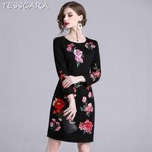 0119da673 TESSCARA mujeres bordado de lujo lápiz vestido de Festa mujer flores de  alta calidad diseñador Vestidos elegante Oficina fiesta .
