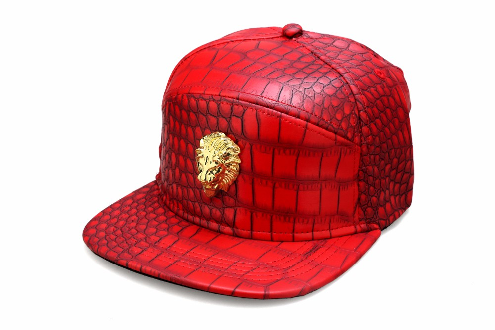 7c098c2280cfa New Fashion Mens Hip Hop Golden Lion Baseball Caps PU Leather Casual ...