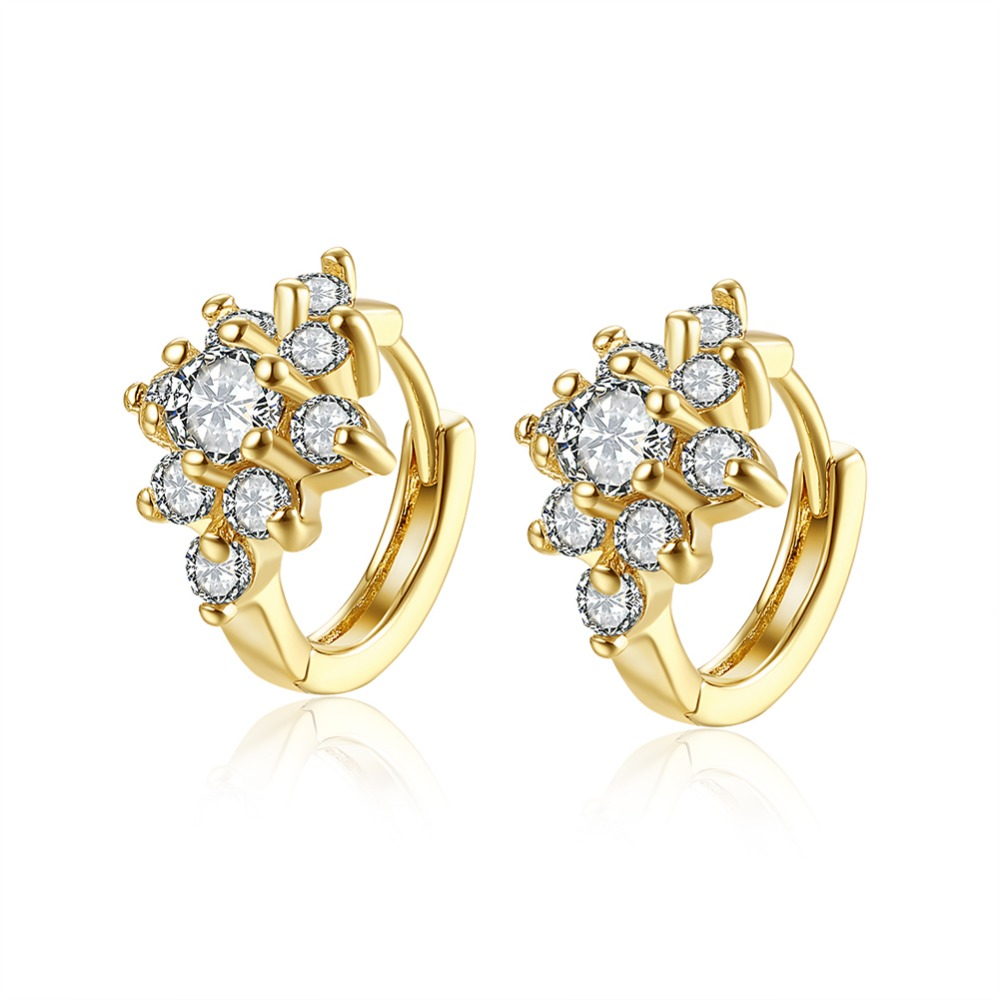 Gold Colour Flower White Crystal Huggies Small Hoop Earrings For