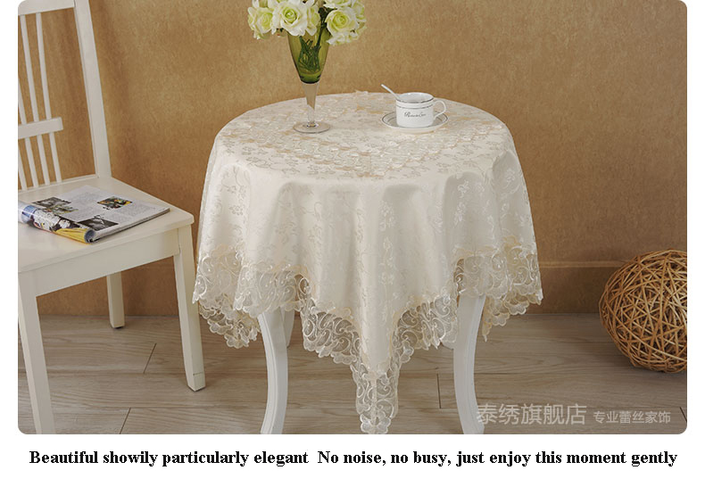 Online Shop 1pcs Lot Living Room Tablecloth Lace Table Cloth Knitted Vintage Dining Cover Knitting Banquet Kitchen Wedding 1551 7