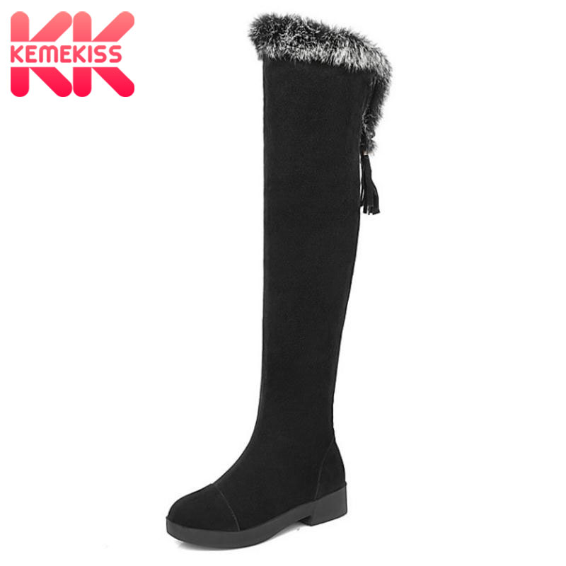 KemeKiss Women Round Toe Flat Over Knee Boots Woman Suede Leather Cross Strap Long Botas Warm Fur Winter Shoes Woman Size 34-43 women round toe platform over knee boots sexy woman thin high heel shoes fashion cross strap heels long botas size 34 47