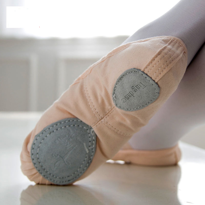 Free Shipping Canvas Split Sole Black/Tan/Pink Ballet Dance Shoes For Girls Women Ballet Slipper Dance Pointe Shoes For Adults