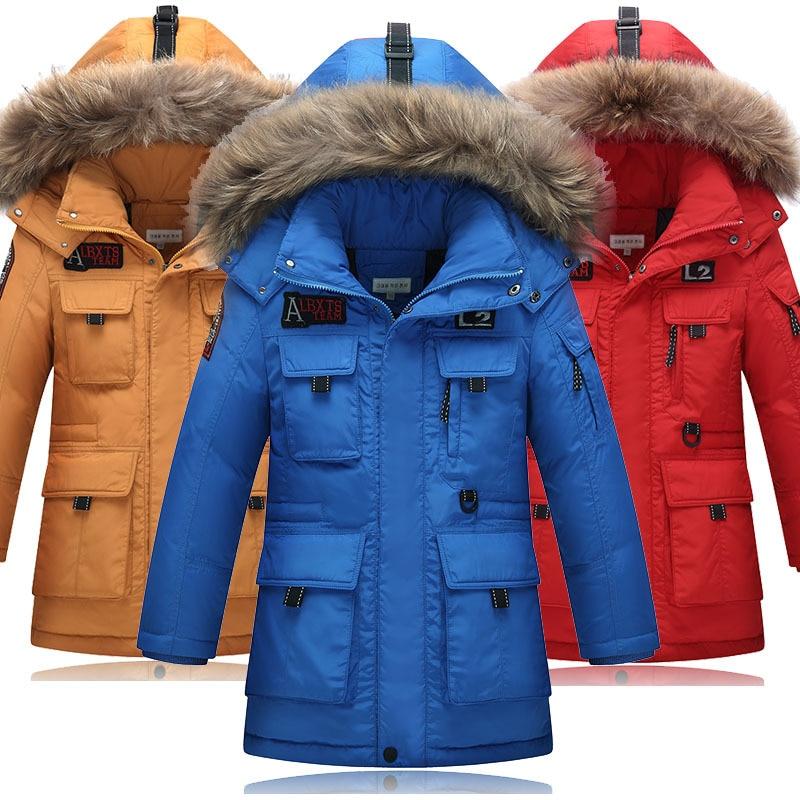 New style Children's Down Jacket Teeange Boys' Thickening Warm winter jacket Real Fur hood Parka For Kids Medium Long Coat