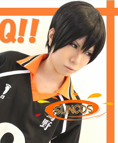 [Suncos] Haikyuu!! kageyama tobio Voleibol preto curto anime cosplay peruca de cabelo Calor fibra resistência frete grátis + Cap