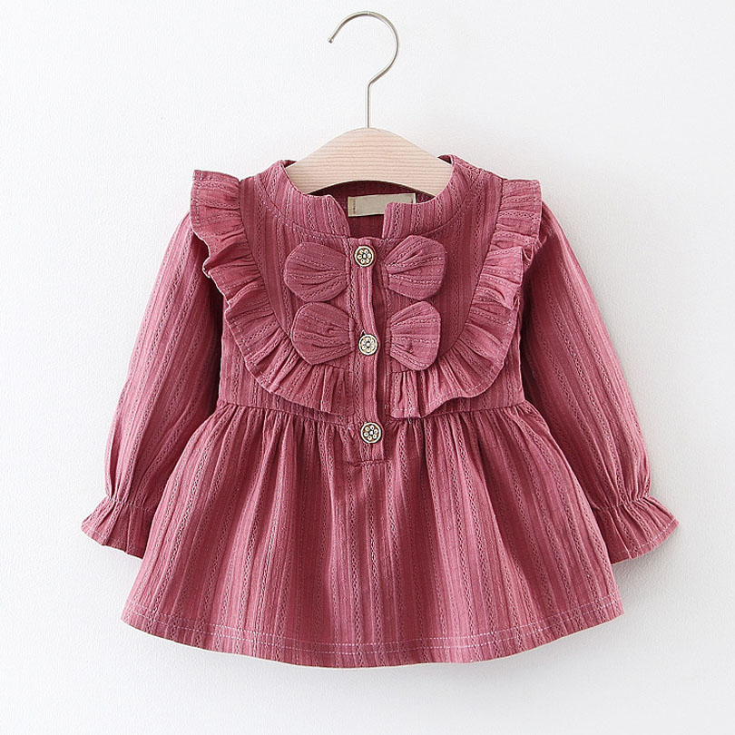 Cute Spring Autumn Cotton Baby Bebe Toddler Girls Dress Clothes Long Sleeve Princess Kids Children Party Dresses 0-4Y Infant 2018 new baby spring dress brand girls plaid dress fashion children dress toddler cotton dress parent child clothes 2636