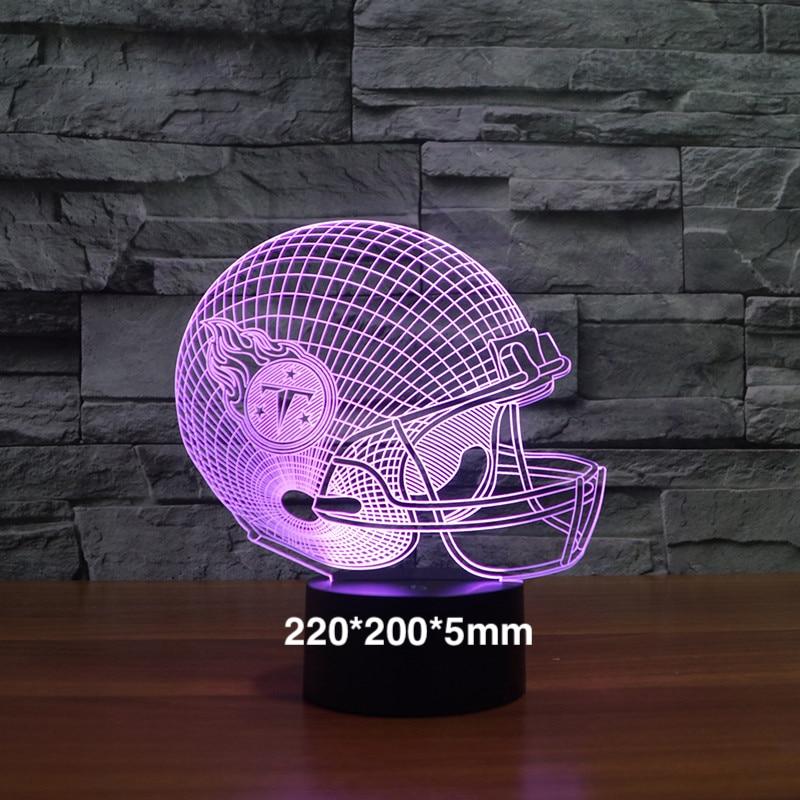 Tennessee Titans football team capacete 2018 3D efeito night light como presentes Holograma visual decorativo luzes quarto lâmpada de Mesa
