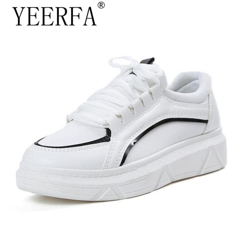 Yierfa Новый Модная обувь на плоской подошве Для женщин кроссовки дышащие кроссовки девушка Обувь Повседневное прогулочная пары белый обуви У... ...