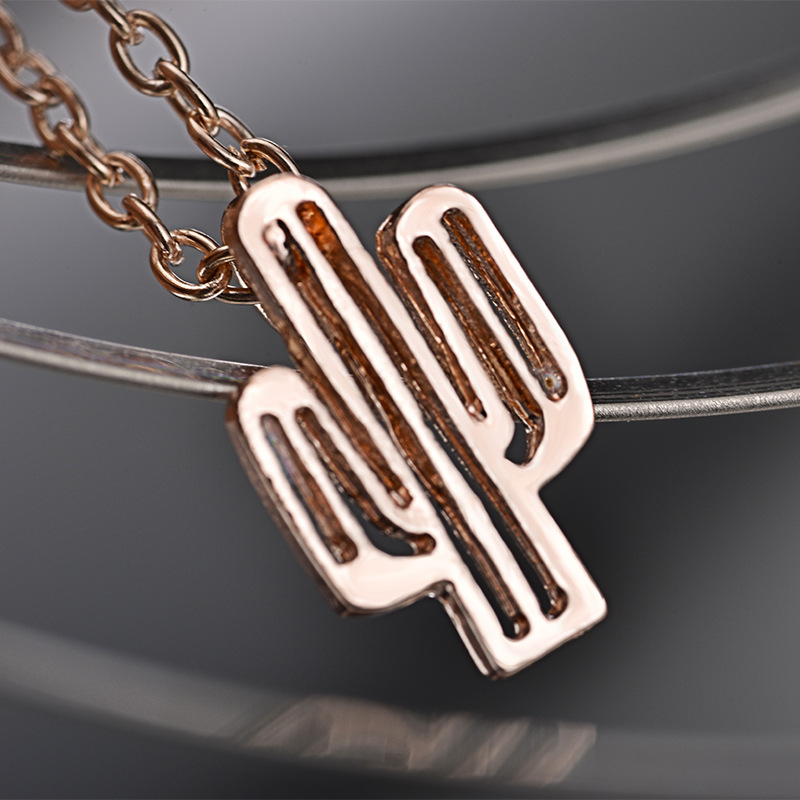 Cute Metal Enamel Cactus Pendant Necklace Jewelry Wholesale For Women drop shipping in Pendant Necklaces from Jewelry Accessories