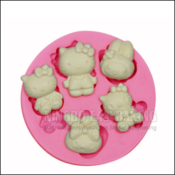 5 Hole Cute Cat Mini Kitty Kitty Silikoni ëmbëlsira Uji Ujdisje Silikoni për Mjeshtëri Karate Candy Artizanale PMC Resin Clay