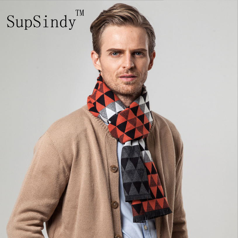 European style Luxury men's   scarf   business casual thick wool   scarves   imitation cashmere   scarves     Wrap   Warm men Triangular lattice