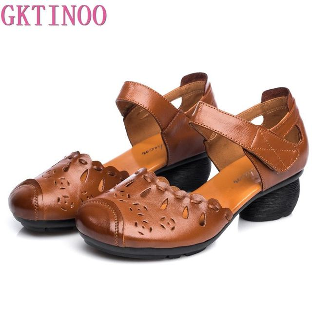 GKTINOO Summer Comfort With Thick Heel Genuine Leather Sandals Mother Shoes Non Slip Rubber Bottom Womens Cow Leather Shoes