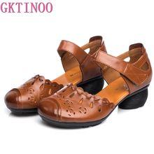 GKTINOO komfort letni z grubym obcasem sandały z prawdziwej skóry buty dla matek antypoślizgowy gumowy spód damskie buty ze skóry bydlęcej