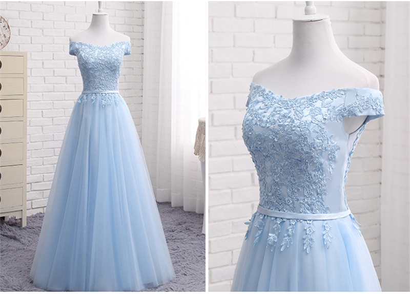 157914db6d Mingli Tengda Light Blue Lace Elegant Bridesmaid Dresses Boat Nevk  Bridesmaid Dress robe demoiselle d'honneur Sleeveless Dress