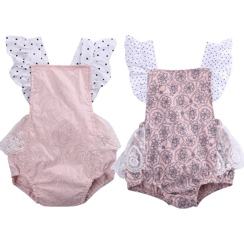 2018 Cute Newborn Baby Girl   Romper   Summer Ruffles Sleeve Halter Lace Sunsuit Outfit Infant Jumpsuit 0-2T