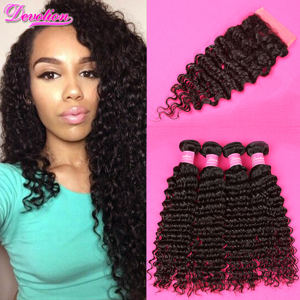 Brazilian Deep Wave With Closure 7a Mink Brazilian Hair With Closure 4 Bundles Brazillian Hair Deep Wave With Closure