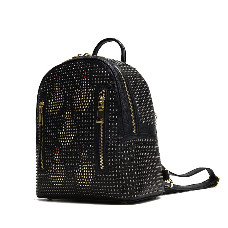 2017 Autumn Rivet Double Zipper Design Women Daily Pack Genuine Cow Leather Female Backpack Small Punk Style School Bag for Girl fashion design women backpack leather star rivet black female youth satchel