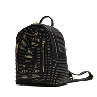 2017 Autumn Rivet Double Zipper Design Women Daily Pack Genuine Cow Leather Female Backpack Small Punk
