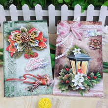 8pcs/lot Paper Fold Greeting Cards Children Cartoon Gift Card Christmas Blessing Message CardEvent & Party Supplies